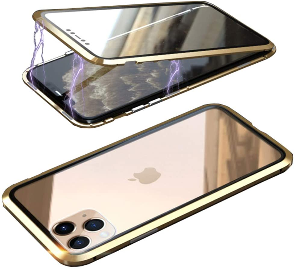 UMTITI Compatible iPhone 11 Pro Max (6.5 inch 2019) Case, with Built-in Screen Protector Magnetic Clear Double-Sided Tempered Glass Cover with a Screen Cleaning Paper (Gold)