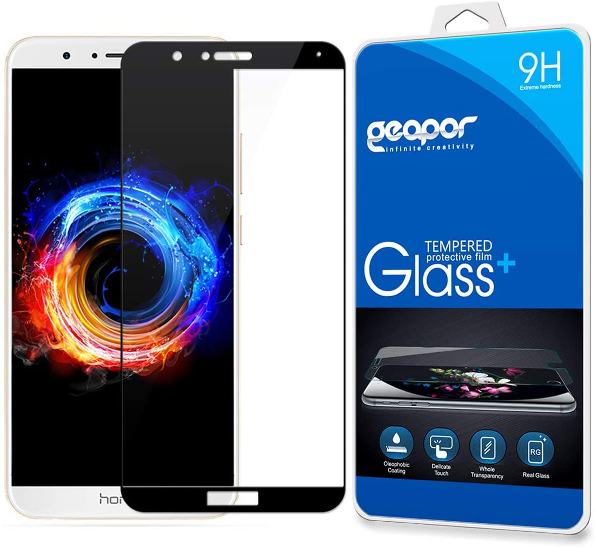 Screen Protector for Huawei Mate SE, Geapor Full Cover Waterproof Clear Touch 9H Tempered Glass Screen Protector for Huawei Honor 7X -Black