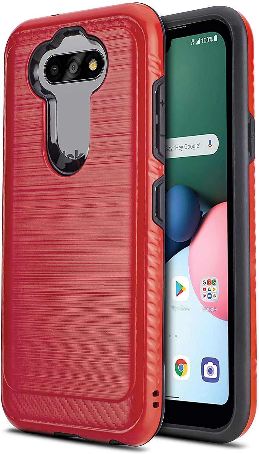 CasemartUSA Phone Case for [LG Fortune 3 (Cricket Wireless)], [Modern Series][Red] Shockproof Brushed Defender Protective Cover for LG Fortune 3 (Cricket Wireless)