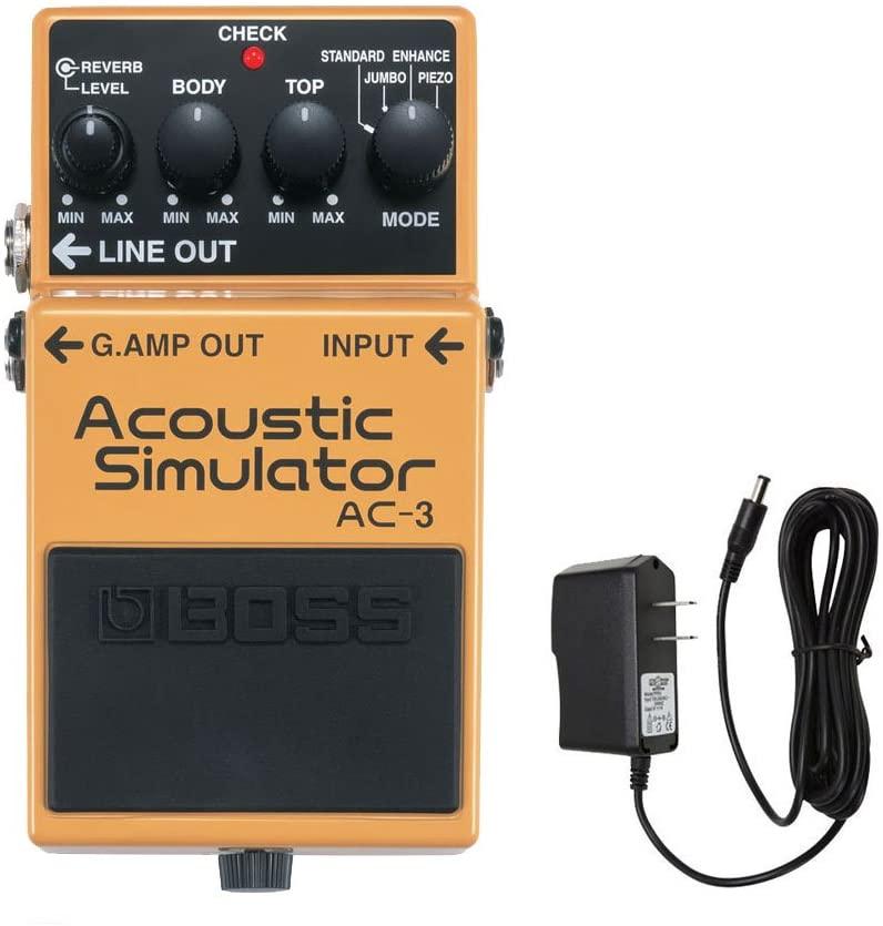 Boss AC-3 Acoustic Simulator Pedal with PigHog PP9V PigPower 9V DC 1000ma Power Supply