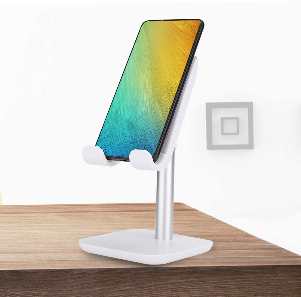 Mobile Phone Stand, Tablet Stand, Small Wireless Charger, Adjustable Height for iOS(White)