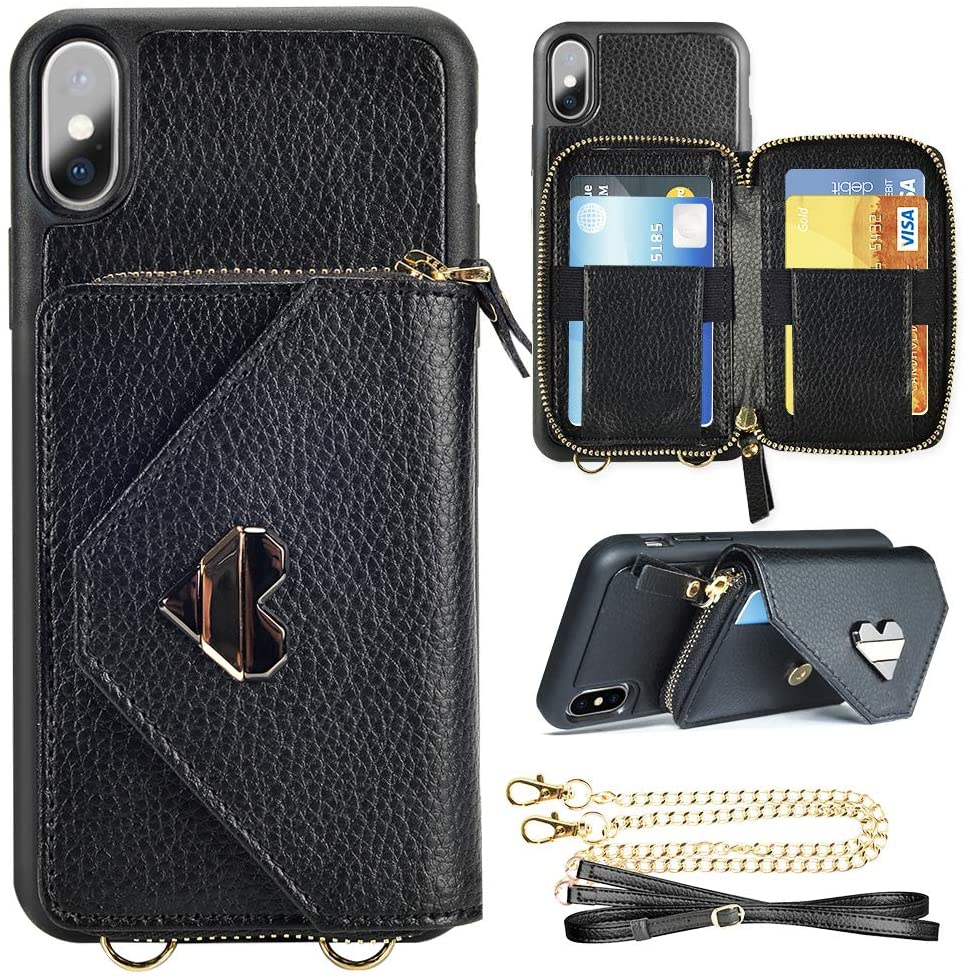 iPhone Xs Max Wallet Case. iPhone Xs Max Crossbody Case with Wrist Strap Zipper Closure Card Holder Protective for Apple iPhone Xs Max 6.5 inch - Black