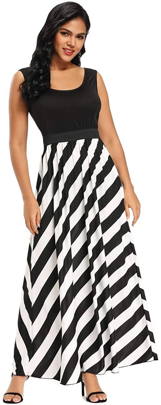 Krismile Womens Summer Sleeveless Striped Long Dress Lady Beach Tank Maxi Dress O-Neck Sundress Black