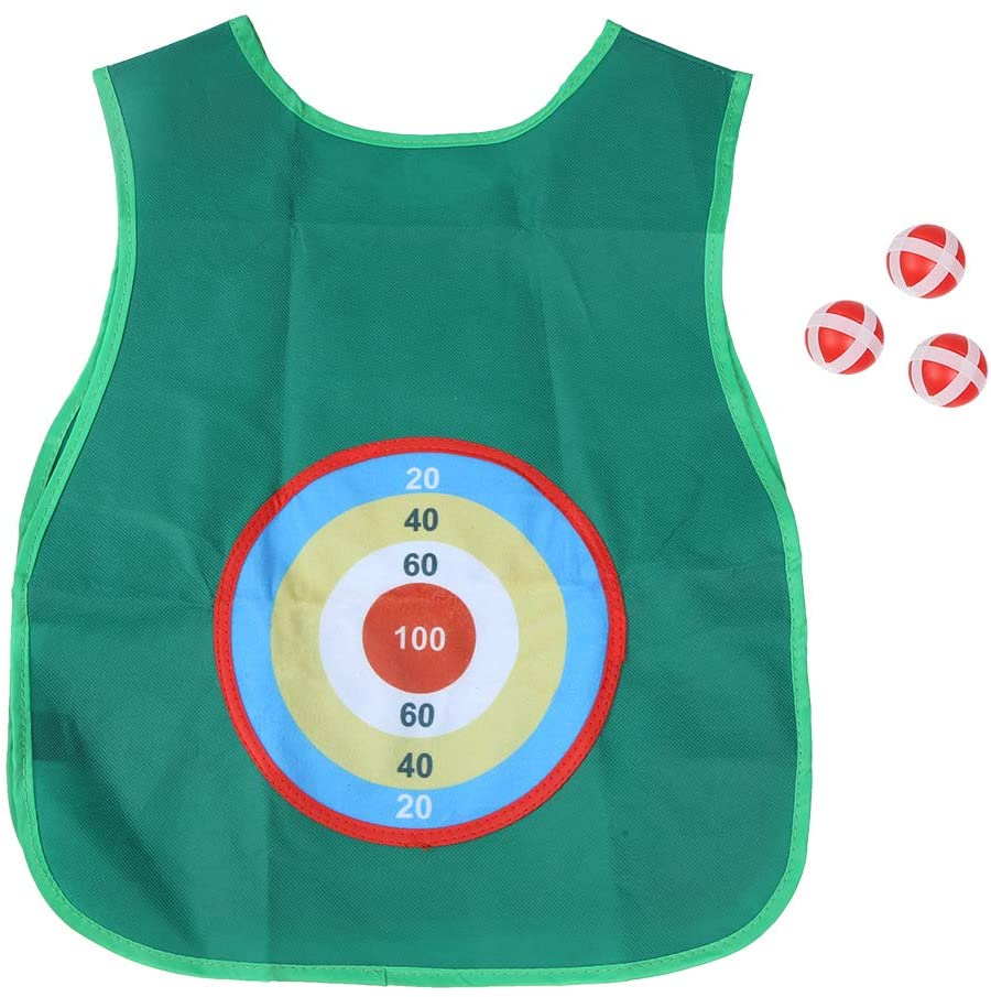 Stick Ball Game, Children Early Education Dodge Ball Game Sticky Jersey Target Ball Vest with 3 Balls Outdoor Game Props for Kids Children(Green)