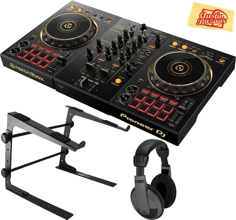 Pioneer DDJ-400-N Limited Edition 2-Deck Digital DJ Controller w/Rekordbox Software Bundle with Stand, Headphones, and Austin Bazaar Polishing Cloth - Gold