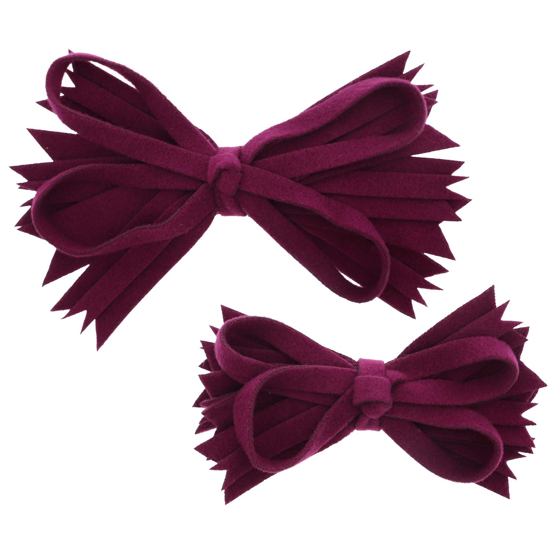 Plum Felt & Wool Strips Hair Bow Small & Large - Set of 2