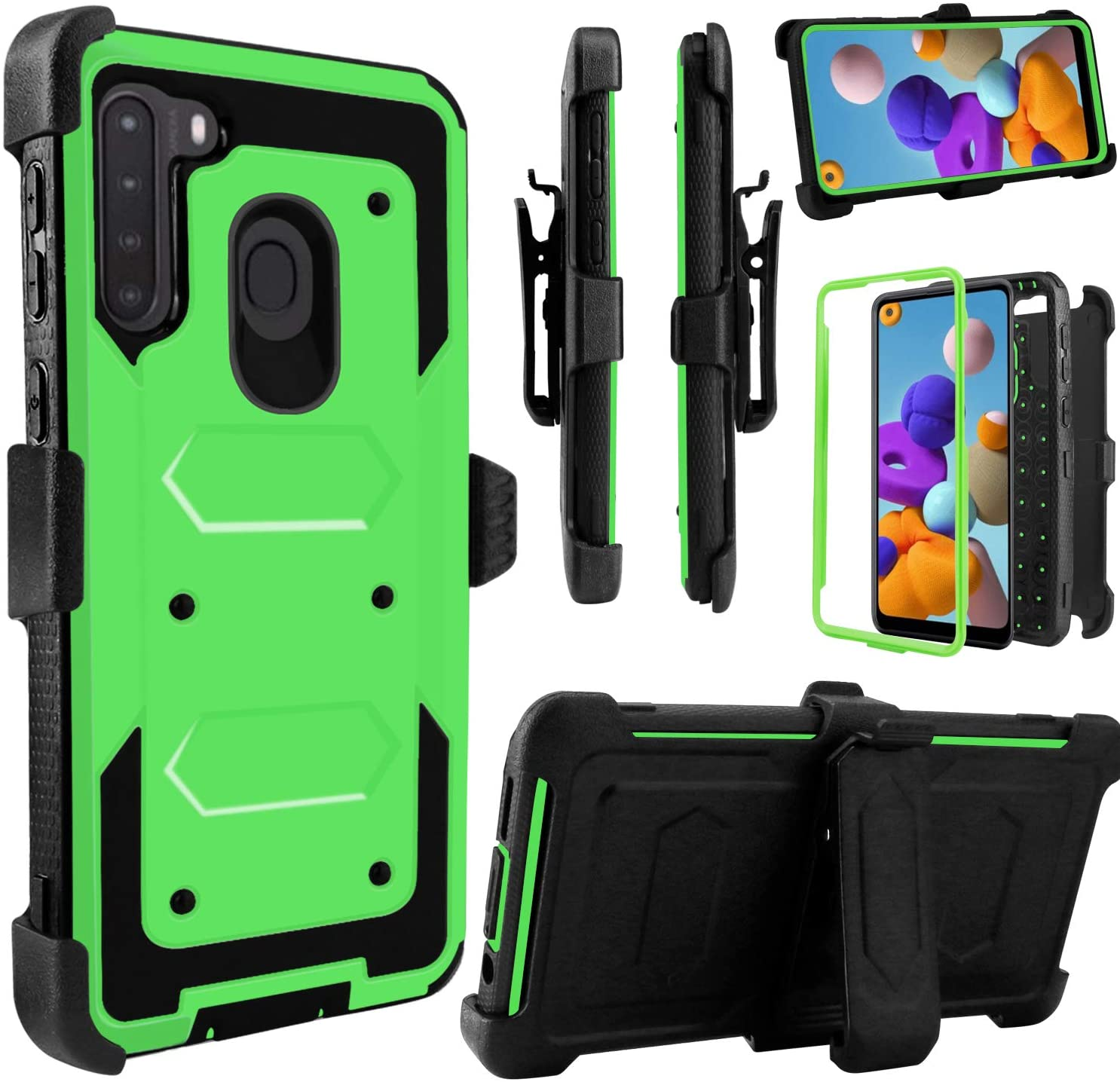 Venoro Galaxy A21 Case, Kickstand Case Heavy Duty Shockproof Full Body Protection Case Cover with Swivel Belt Clip for Samsung Galaxy A21 6.5inch (Green)