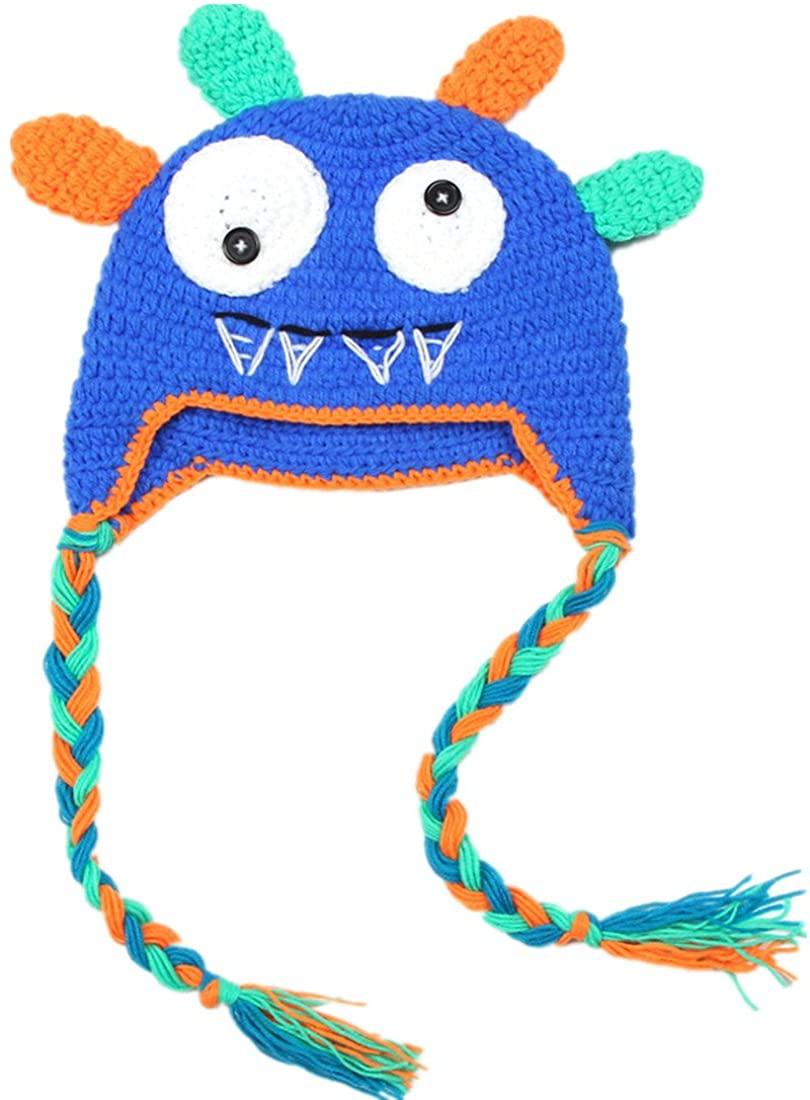 Kafeimali Children's Baby Winter Caps Crochet Earflap Beanie Knit Cartoon Big Eyes Devil Hats