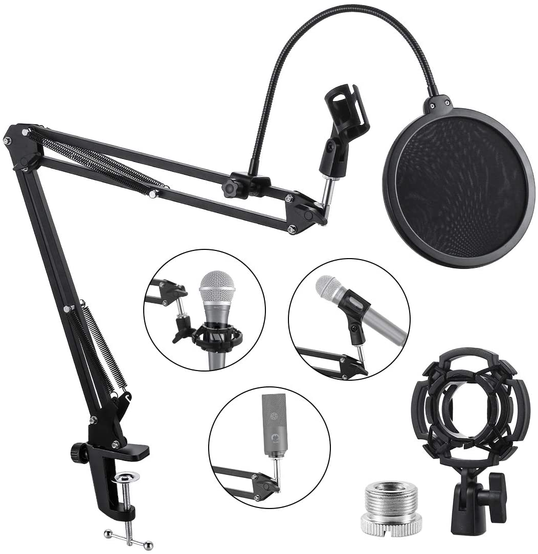 JUHE Mic Stand,Upgraded Mic Arm,Adjustable Suspension Boom Scissor Arm Stand with Dual Layered Pop Filter,Blue Yeti Mic Stand Suitable for Snowball Ice, Voice-Over, Recording, Games.