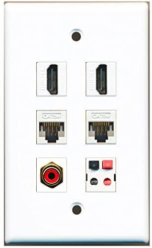 RiteAV - 2 HDMI 1 Port RCA Red 2 Port Cat5e Ethernet White 1 Port Speaker Wall Plate