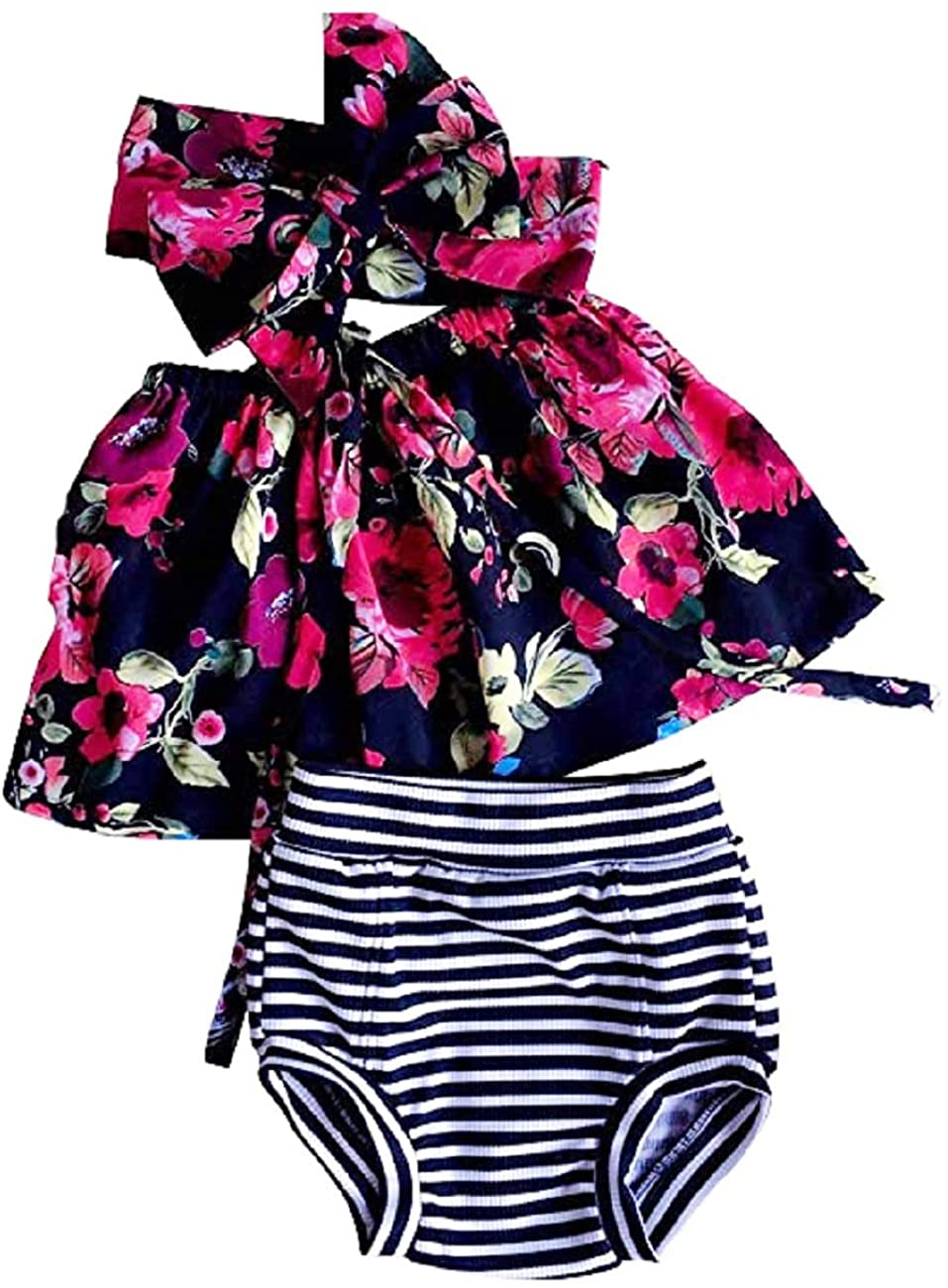 Infant Toddler Baby Girl Clothes Solid Color Ruffle Dress Bloomer Headband Summer Sundress Outfit