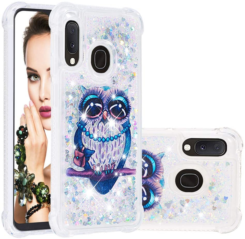 MRSTERUS Case for Samsung A10E,Glitter Liquid Sparkle Floating Shiny Quicksand Clear Soft TPU Silicone Shockproof Protective Bumper Thin Cover for Samsung A20E Big Eyed owl YBL