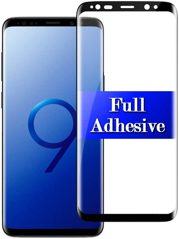 【Full Adhesive】 gaxaly s9 Screen Protector For Samsung S9plus Tempered Glass 3D Curved Galaxy Protective Film glaxay 9s s 9 [Explosion-Proof] [High Definition] Galxay Gs9 5.8 inch 2018 (Black)