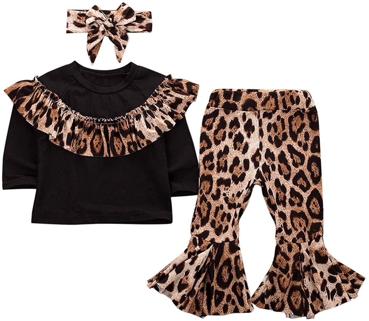 Toddler Baby Girl Leopard Pants Set Ruffle T-Shirt Tops Bell Bottoms Flare Pants Headband 3Pcs
