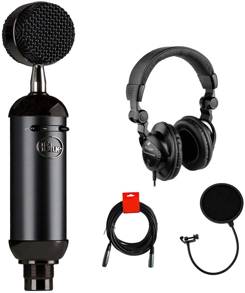 Blue Blackout Spark SL XLR Condenser Microphone with Polsen HPC-A30 Monitor Headphones, Pop Filter & XLR Cable Bundle
