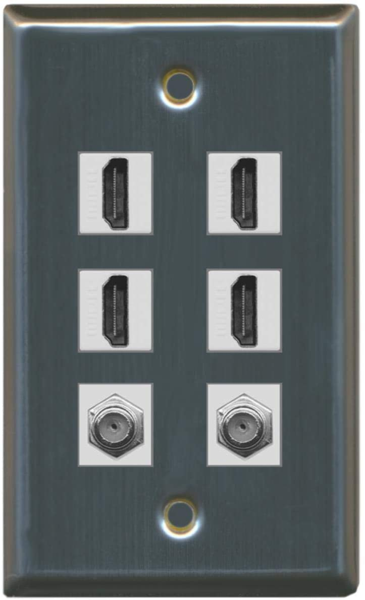 RiteAV - 4 HDMI and 2 - Coax Cable TV F Port Wall Plate - Stainless Steel/Gray