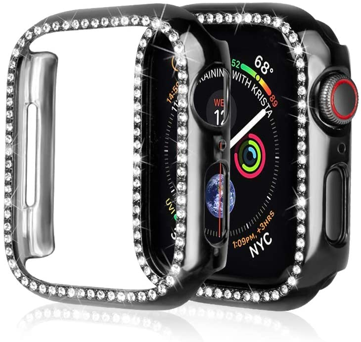 top4cus Compatible with Apple Watch Crystal Cover 42mm Diamond Shiny PC Iwatch Bumper Lightweight Protective Iwatch Case Compatible for Apple Watch Series 3 Series 2 Series 1 (Black, 42mm)