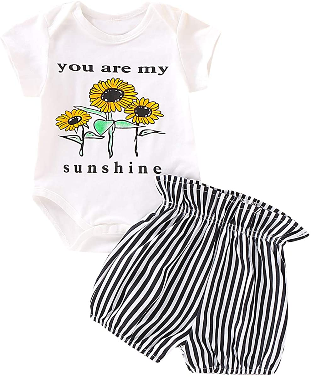 nosii 0-24M Baby Girl Sunflower Top Romper + Striped Shorts Fashion Outfits Clothes 2pcs/Set