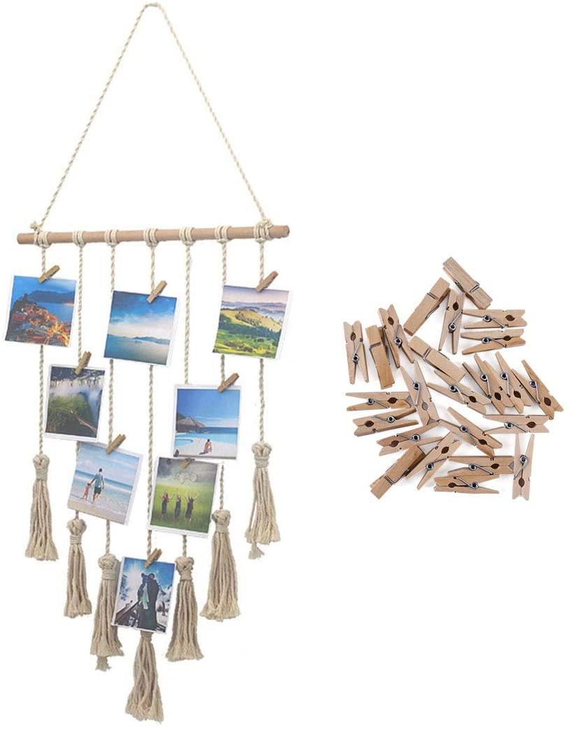 Saien Hanging Photo Display Macrame Wall Hanging Pictures Decor Tassel Picture Organizer Home Decoration with 25 Wood Clips Beige (Not Include Pictures)