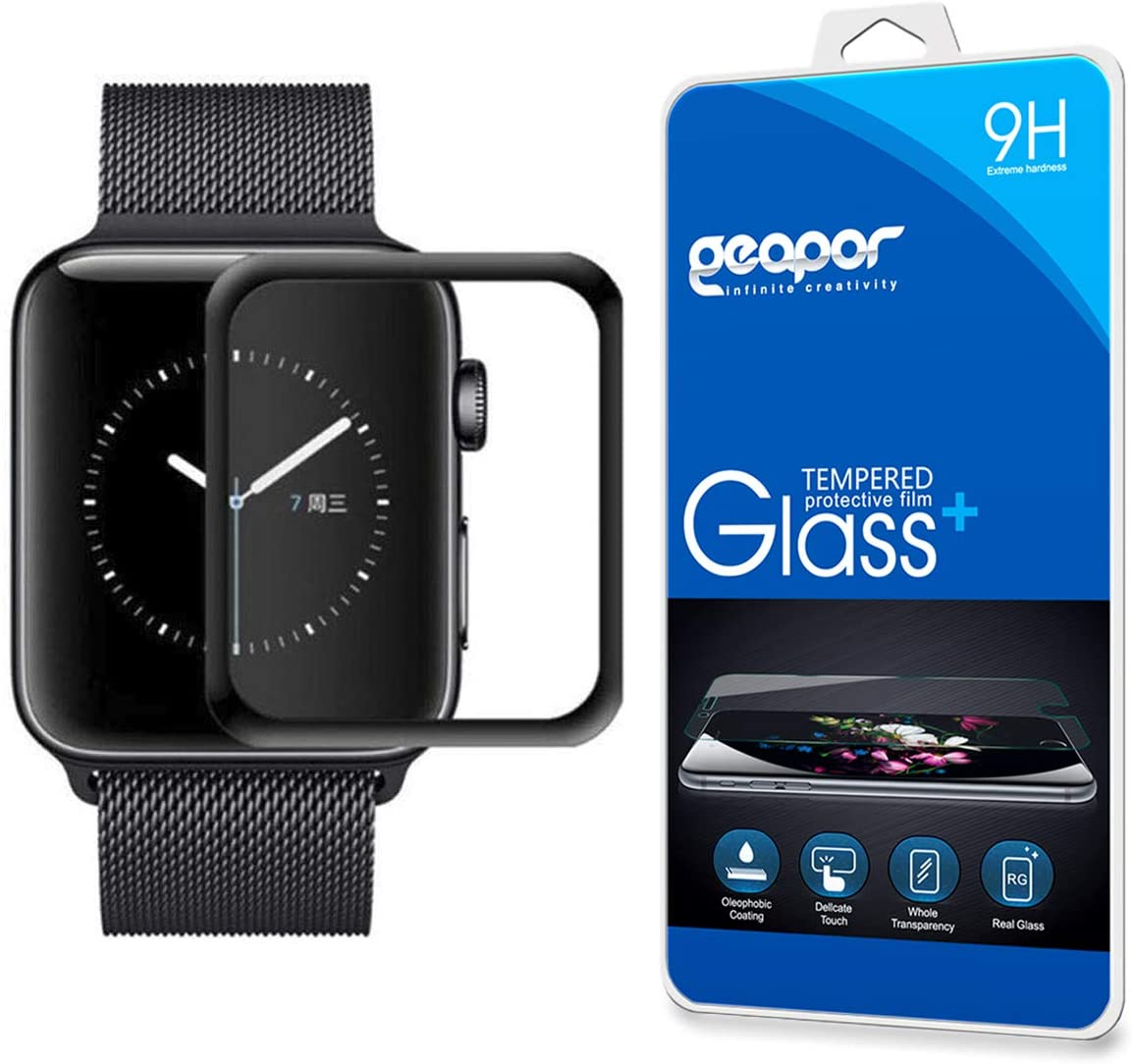 Screen Protector for Apple watch4 40mm, Geapor 3D Curved Full Screen Coverage Tempered Glass Screen Protectors - 9H HD-Clear Anti-Scratch -Black