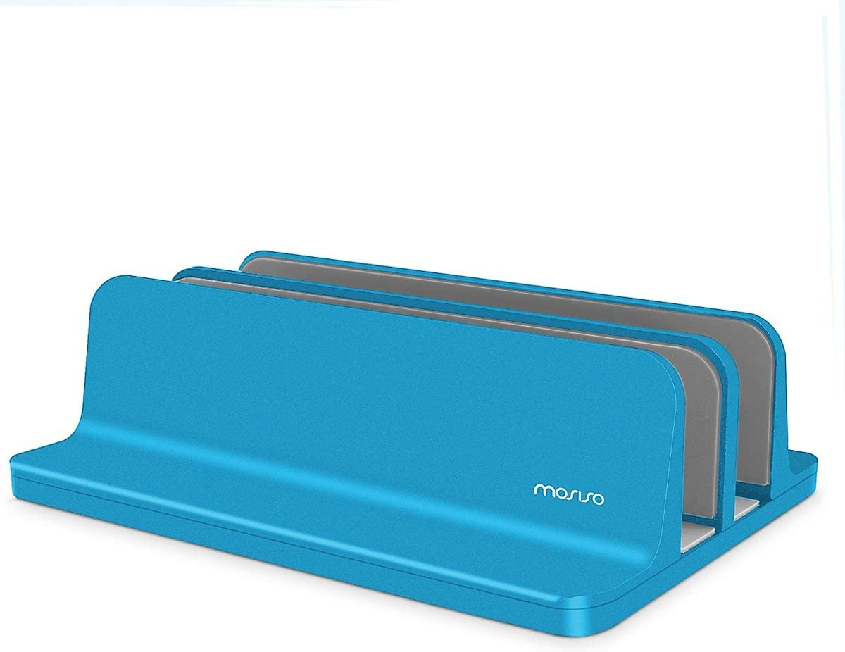 MOSISO Laptop Stand Holder, Vertical Aluminum Alloy Desk Holder Portable Dual Slot Adjustable Dock Stable Stander Compatible with iPad Pro/MacBook Air/MacBook Pro/Surface Pro Notebook, Aqua Blue