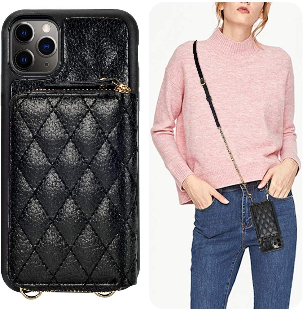iPhone 11 Pro Max Wallet Case, LAMEEKU Zipper Wallet Case Card Holder Quilted Leather Crossbody Wallet Case for Lady with Wrist Strap Shockproof Case Compatible with iPhone 11 Pro Max, 6.5 Inch-Black