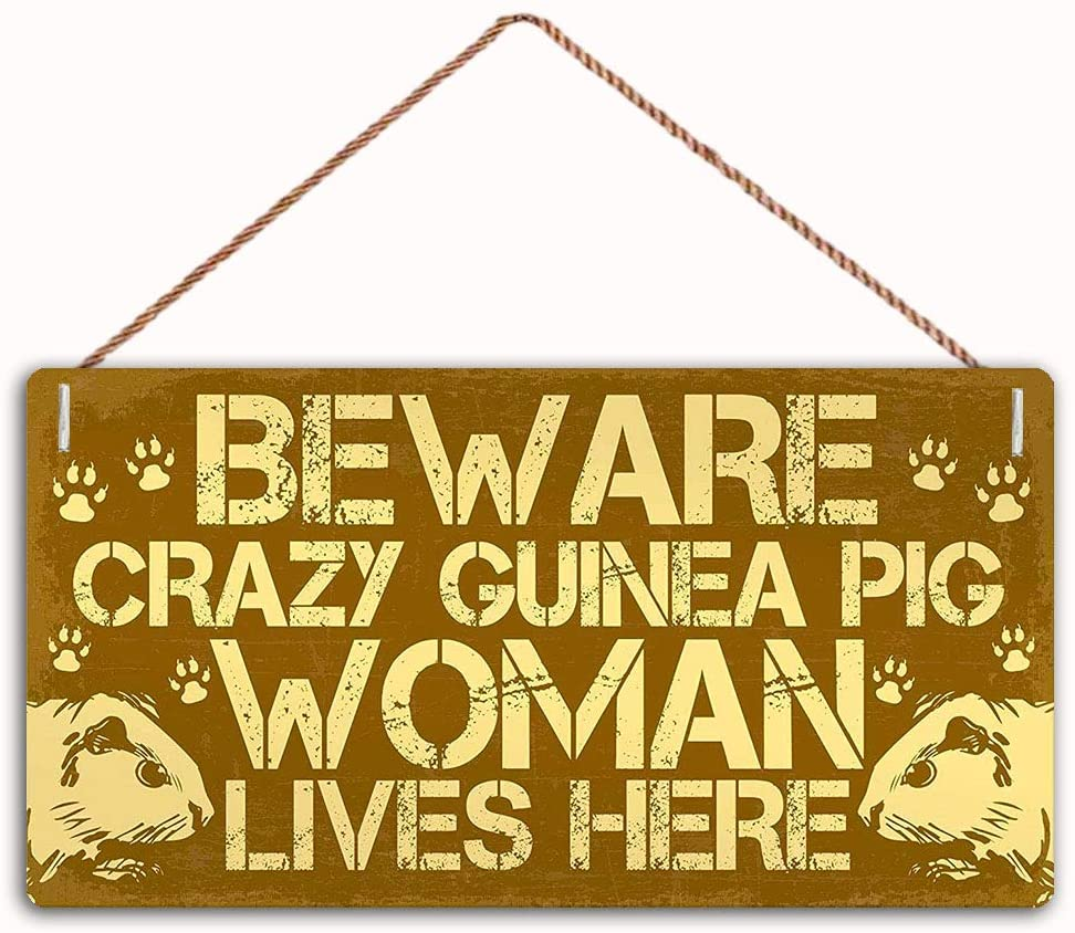 MAIYUAN Beware Guinea Pig Woman Lives Here Sign Home Decor Wood Sign Plaque 10