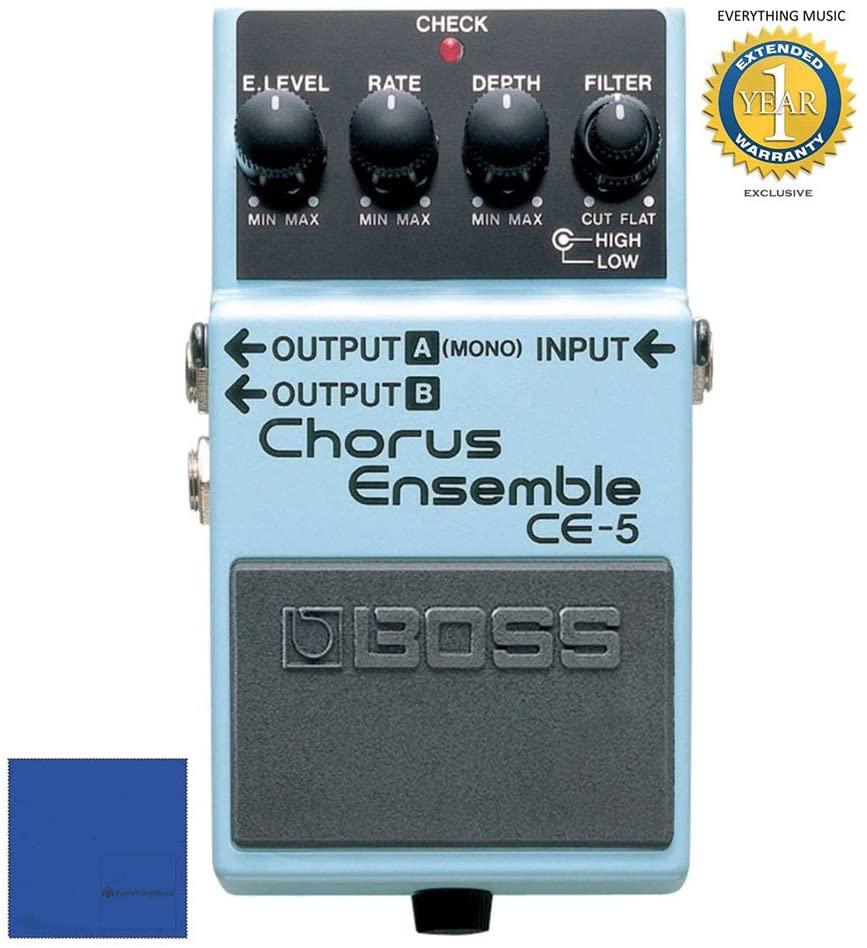 Boss CE-5 Stereo Chorus Ensemble Pedal with microfiber