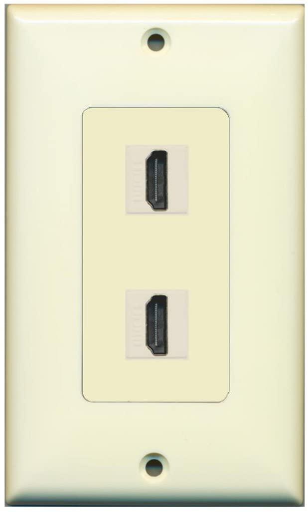 RiteAV HDMI 2.0 Keystone Decorative Wall Plate - Light Almond/Light Almond 2 Port