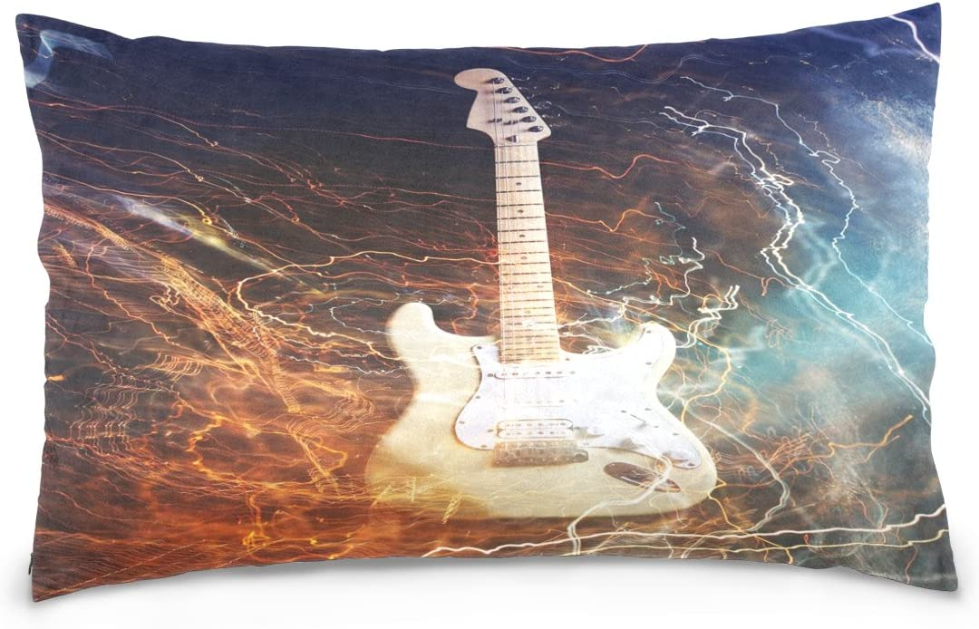 ALAZA Electric Guitar Surrounded with the Lightnings Cotton Lint Pillow Case,Double-sided Printing Home Decor Pillowcase Size 16