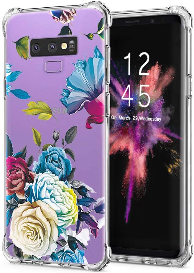 LUOLNH Galaxy Note 9 Case,Samsung Galaxy Note 9 Case Flower,Slim Shockproof Clear Floral Pattern Soft Flexible TPU Back Cover Samsung Galaxy Note 9 (Blue Rose)