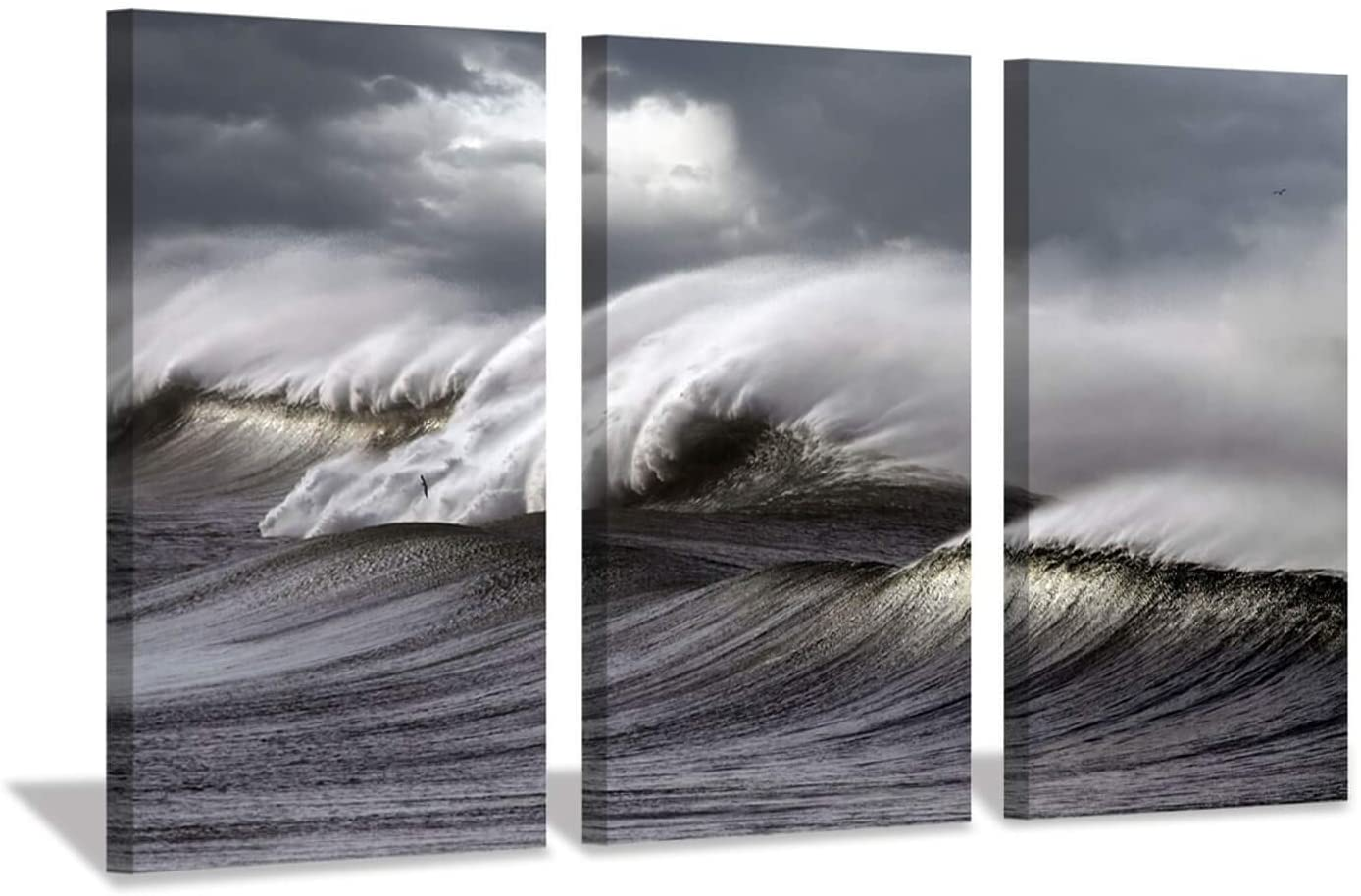 """Hardy Gallery Seascape Artwork Wave Picture Painting: Ocean Storm Photographic Art Print on Canvas for Wall(26""""x16""""x3pcs)"""