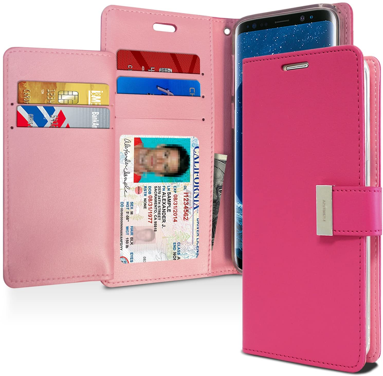 Goospery Rich Wallet for Samsung Galaxy S9 Case (2018) Extra Card Slots Leather Flip Cover (Hot Pink) S9-RIC-HPNK