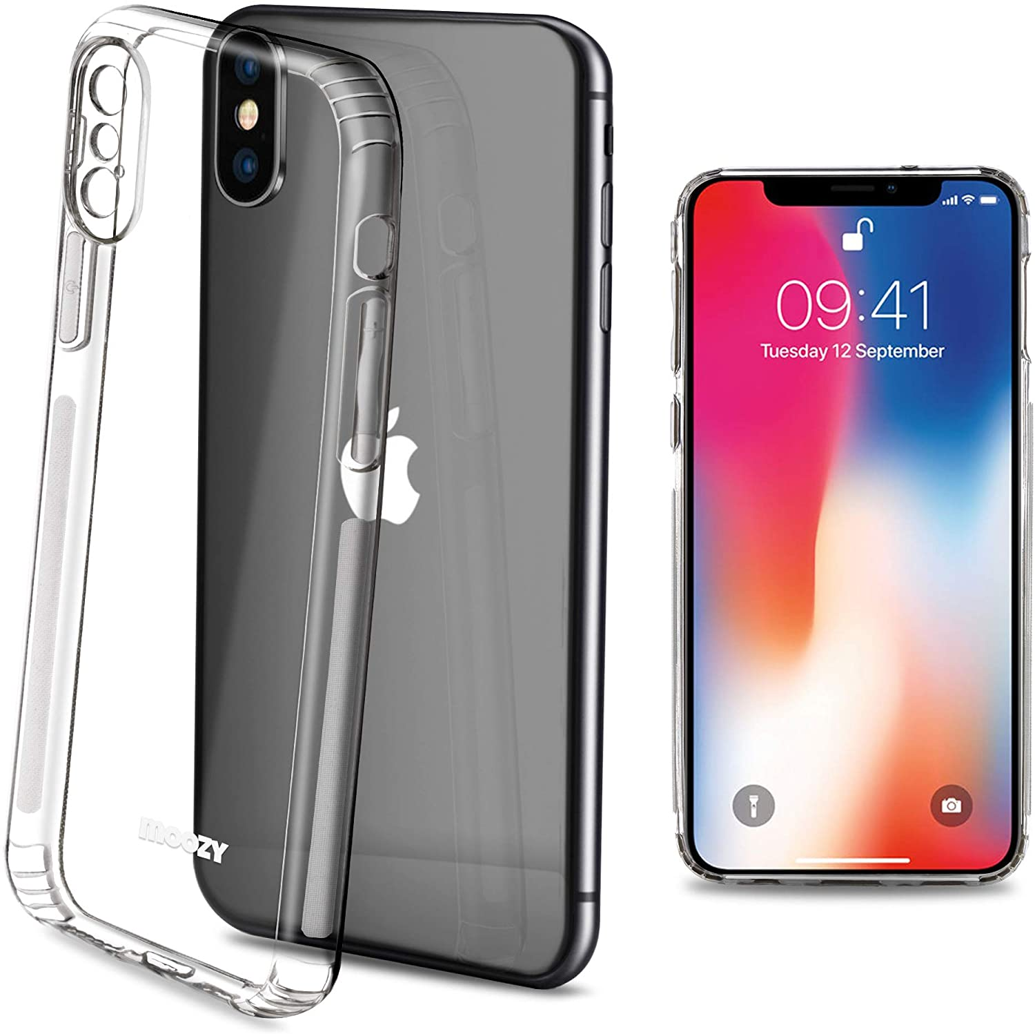 Moozy Frosted Edition Clear Silicone Case for iPhone X and iPhone Xs - Non-Slip Touch Lightweight Transparent Soft TPU Cover