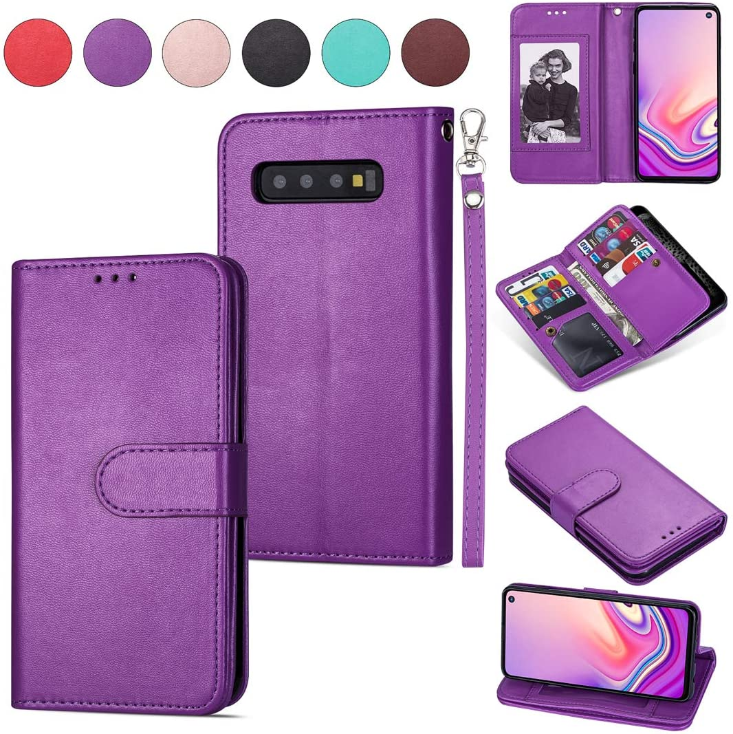 DEFBSC Samsung Galaxy S10e Wallet Case,Magnetic Premium Leather Folio Flip Case with 9 Card Slots/Holder Kickstand and Wrist Strap for Samsung S10e-Purple