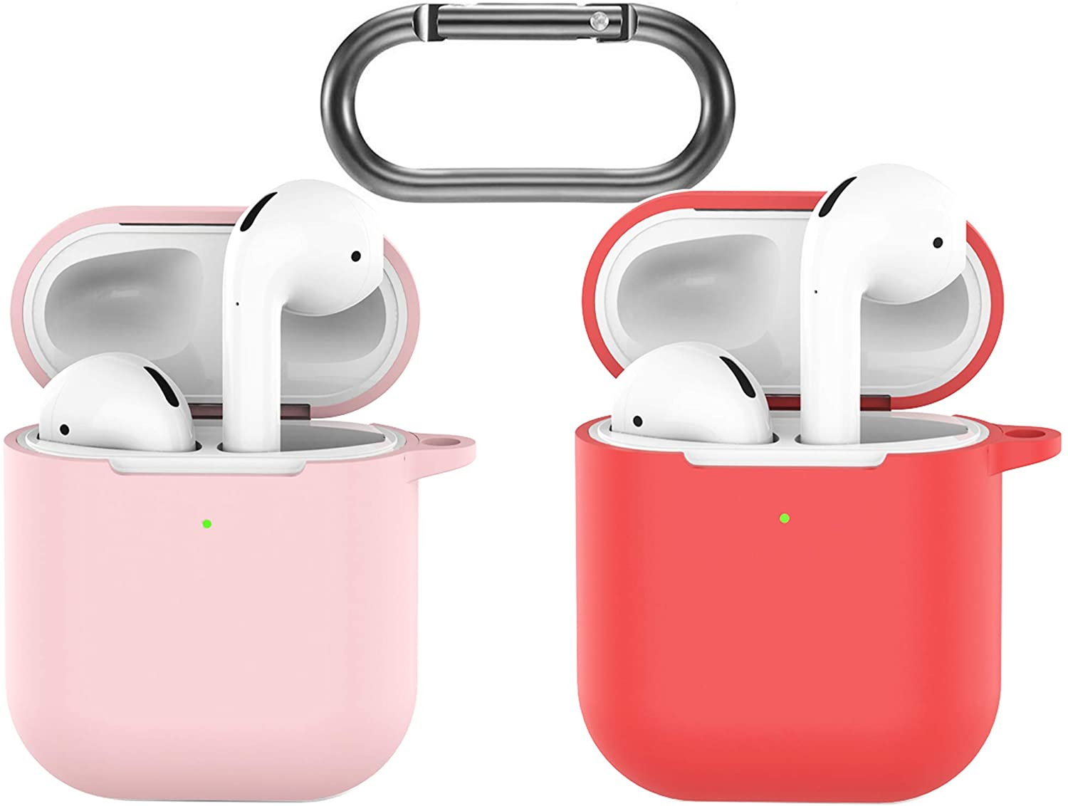 amasing Airpods Case,Competible with Airpods 1 2 Holder Protective,Led visble for Airpods Gen2 + Keychain,with Clip Fundas Airpod Apple Earbuds Silicon Rubber Cover Hook Red+Pink B