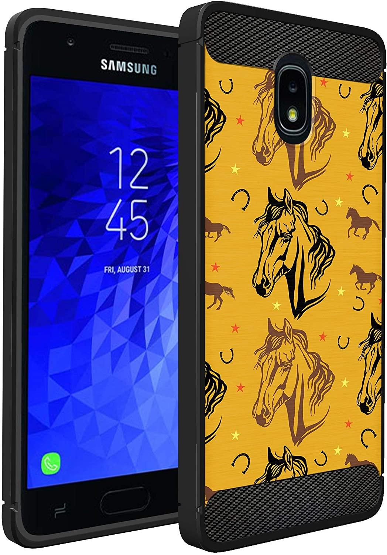CasesOnDeck Case Compatible with [J3 (2018) /J3 Star /J3 Achieve/Express Prime 3 /J3 Orbit/Amp Prime 3] Sol 3 Case, Slim Black Flexible Sleek Shock Protection TPU Case (Western Horse)