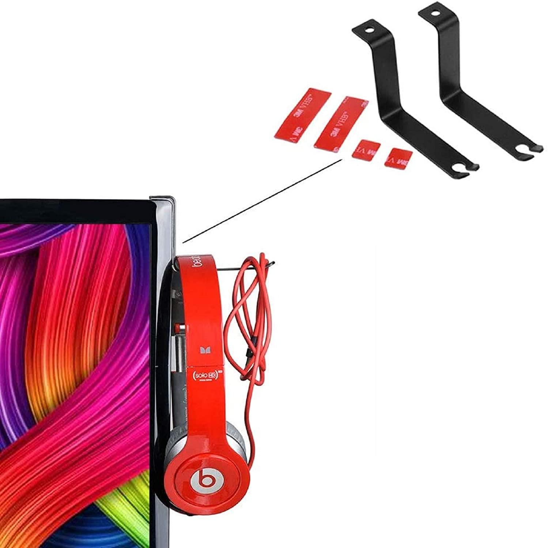 2 Pack PC Gaming Headset Headphone Stand Hook Holder Hanger Mount, Monitor Mount Design