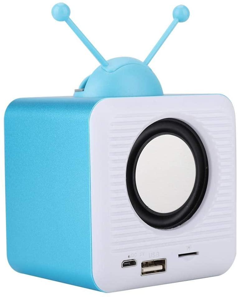 Bluetooth Speaker, Vintage Mini tv Shaped Speaker, Bluetooth Speaker Phone Holder, 2 in 1 Multi Function Stand Speaker(Blue)