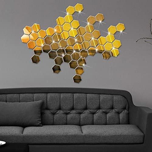 Ouniman 12 PCS Hexagon Acrylic Mirror Wall Sticker,3D Geometric DIY Wall Decals Home Decorative Self-Adhesive Art Wall Removable Mural for Wedding Living Room Bedroom Bathroom,46x40x23mm (Gold)