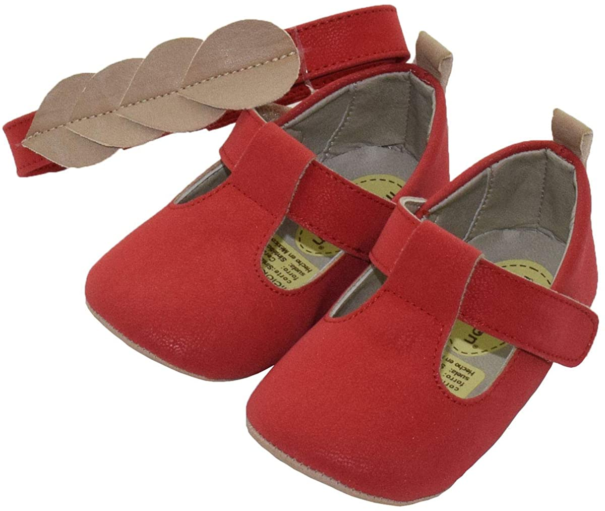 Baby Girls T-Strap Mary Jane Flats with Soft Sole Prewalkers with Matching Headband (Newborn/Infant)