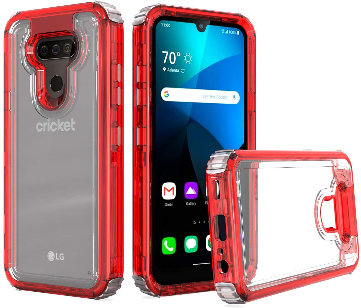 UNC Pro 3 in 1 Cell Phone Case for LG Harmony 4/ LG Xpression Plus 3, Heavy Duty Full Edge Protection Hybrid Shockproof Bumper Case Cover, Clear Red