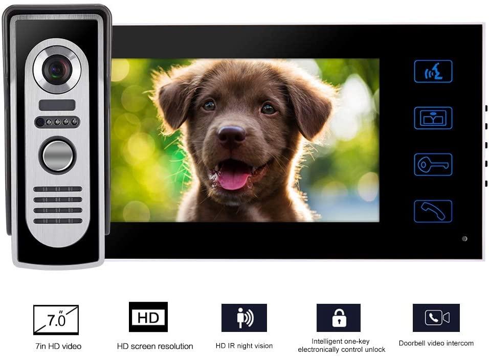 Home Visual Doorbell, 7inch Wired TFT LCD Screen Smart Video Doorbell Camera, IP55 Waterproof IR Night Vision, Wide Angle Home Security Indoor Monior Video Intercom Doorbell(US)