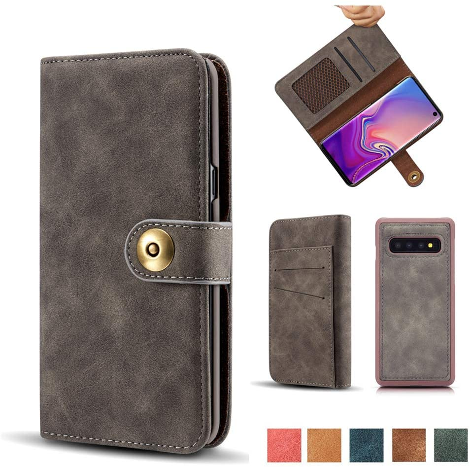 Galaxy S10 Case, Vintage 2 in 1 [Magnetic Detachable] Flip Folio Wallet PU Leather Cases Removable Retro [4 Card Slots] Protective Bag Cover with Card Holder for Samsung Galaxy S10 - Gray