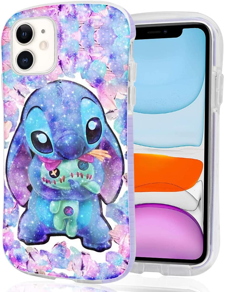 DISNEY COLLECTION iPhone 11 6.1inch Case Style Stitch Pattern Small Waist Design Hard PC Shield+Soft TPU Bumper Shockproof Protective Cover for iPhone 11(2019) (Clear- Lilo Stitch)