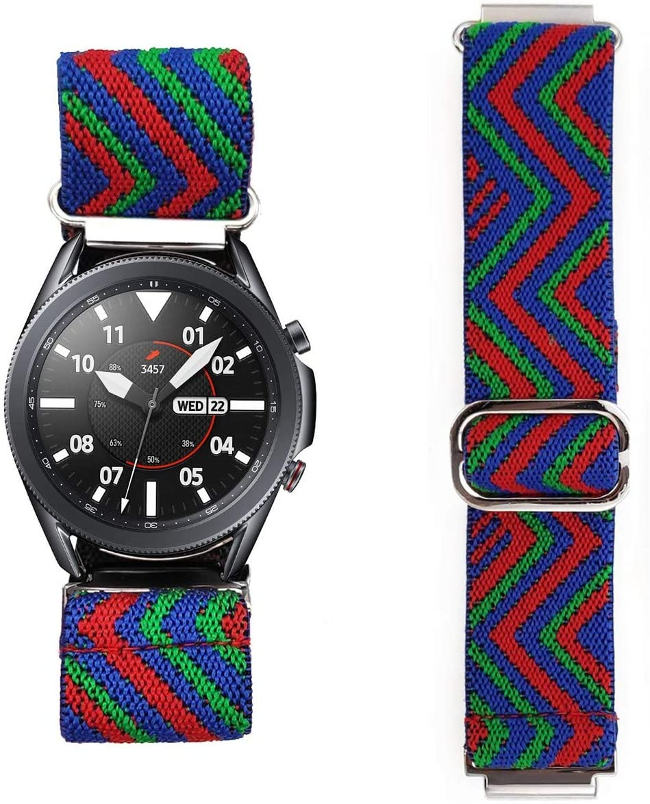 Abanen for Samsung Galaxy Watch3 45mm Elastic Watch Band, Quick Release 22mm Colorful Woven Loop Elastic Wristband Strap for Fossil Gen5 Carlyle/Julianna,Multicolor