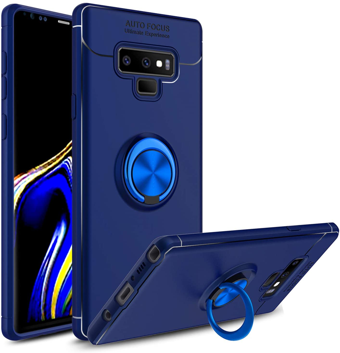 Venoro Galaxy Note 9 Case, 360 Degree Rotatable Ring Stand and Ring Holder Kickstand Fit Magnetic Car Mount Slim Soft Protective Case Cover for Samsung Galaxy Note 9 / SM-N960U (Blue)