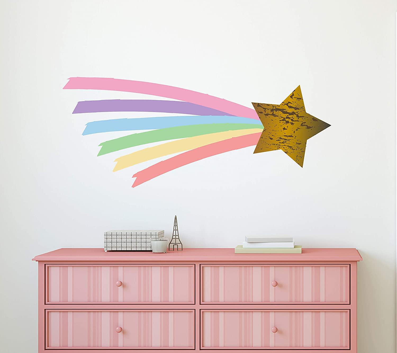 Shooting Star Rainbow Wall Decal Pastel Watercolor Unicorn Nursery Girls Bedroom Decor Rainbow Star Art Mural Vinyl Sticker (50