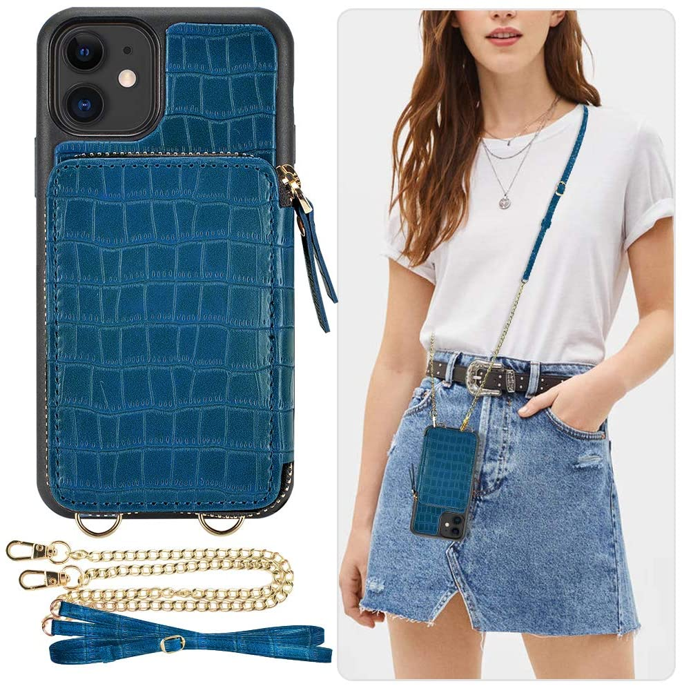 iPhone 11 Wallet Case, ZVE iPhone 11 Case with Card Holder Slot Crossbody Chain Handbag Purse Wrist Strap Zipper Crocodile Skin Leather Case Protective Cover for Apple iPhone 11 6.1 inch - Blue Green