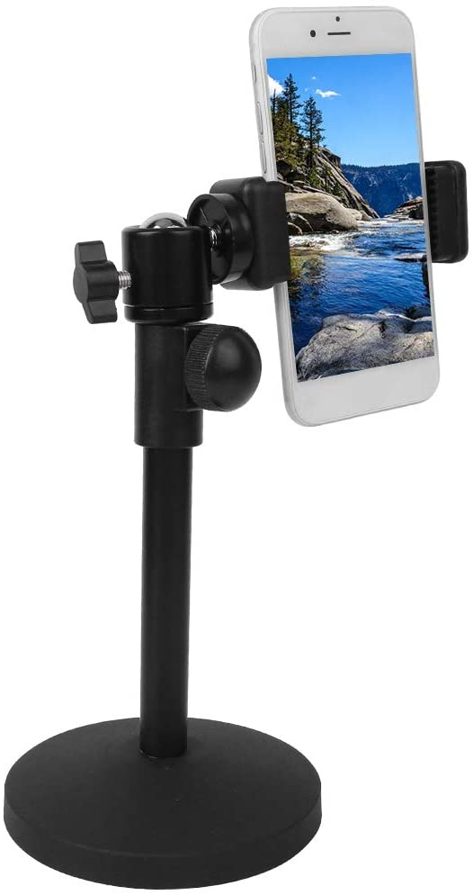 S erounder Mobile Phone Desktop Holder, 360° Rotation Adjustable Table Bracket Support Stand with Ball Head, Phone Clip and 10.5cm Round Plate Base for 5.3-10cm Mobile Phones